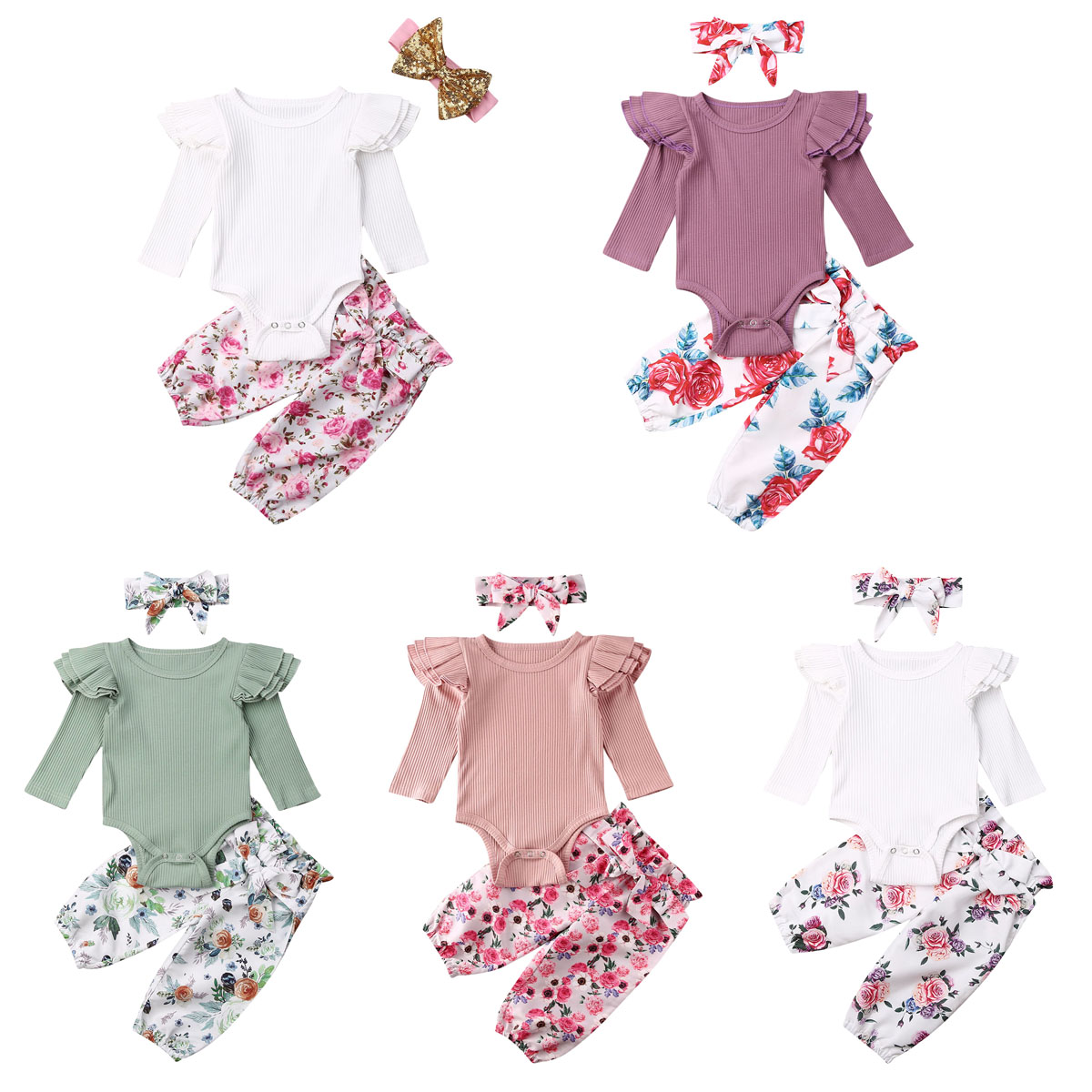Newborn Infant Baby Girl Floral Outfit Kids Romper Top+Pants+Headband 3PCS Set