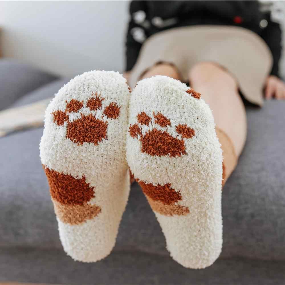 Bộ 5 Đôi Tất Đáng Yêu Mùa Đông Nữ Ấm Áp Tất Vớ Nữ Mèo Móng Vuốt Dễ Thương Dày Ấm Giấc Ngủ Tầng Tất Trung Tất
