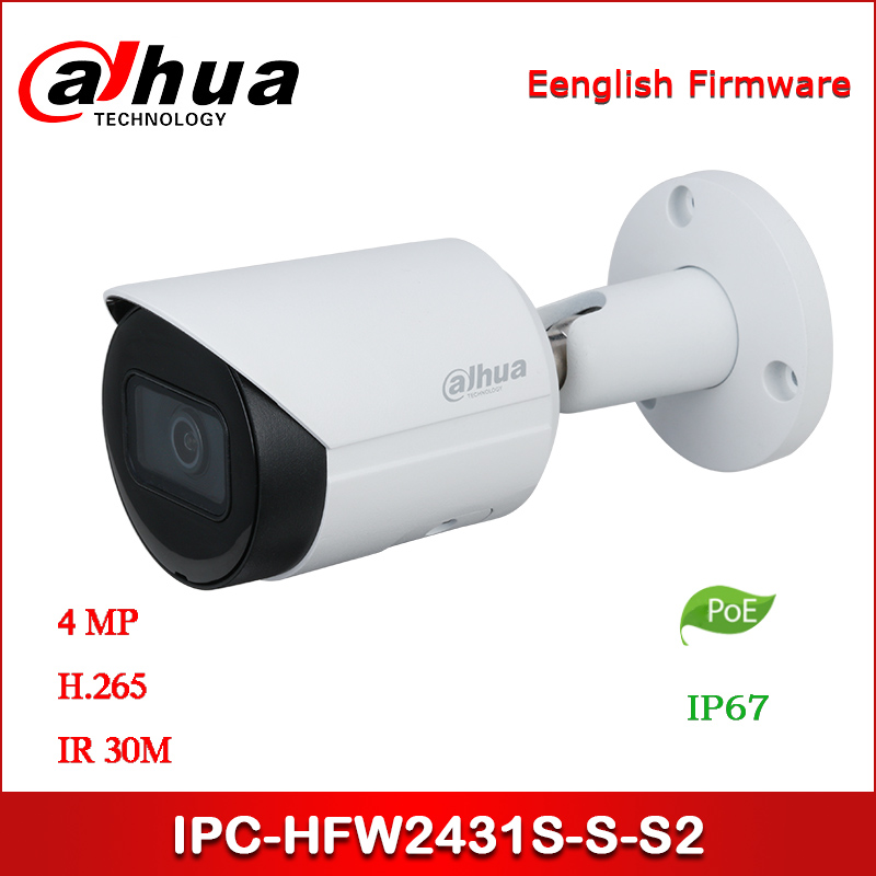 Dahua IP Camera IPC-HFW2431S-S-S2 4MP WDR IR Bullet Network Camera Support POE Upgraded Version Of IPC-HFW1431S