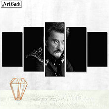 Five spell diamond painting johnny hallyday full square portrait 5d mosaic embroidery decorative