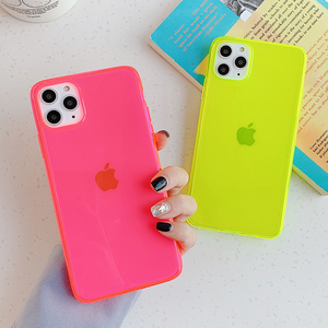 Fashion Fluorescent Green Phone Case For iphone 11 Pro Max XR X XS Max 7 8 plus Cover SE 2020 Case luxury Transparent Soft Case(China)
