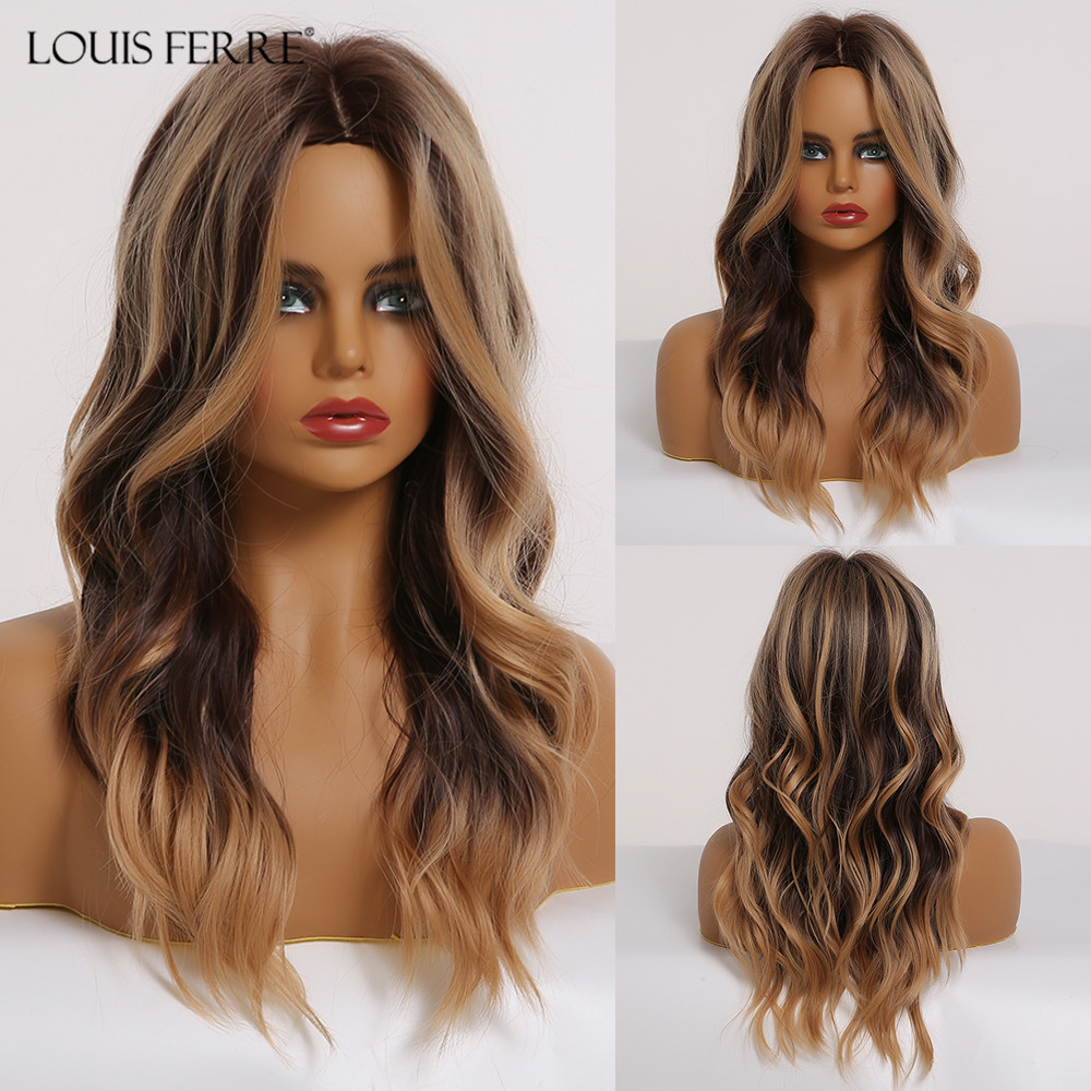 LOUIS FERRE Medium Synthetic Wavy Wigs Ombre Black Brown Wig With Light Brwon Highlights Women Middle Part Heat Resistant Fiber