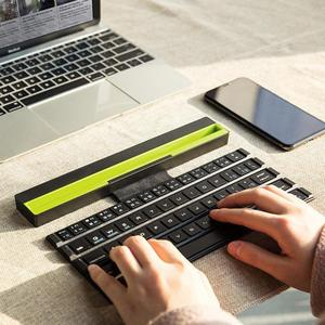 Image 5 - 1PCS With Holder Wireless Bluetooth Keyboard Universal Roll Up Quick Response Key Board with Phones Holder