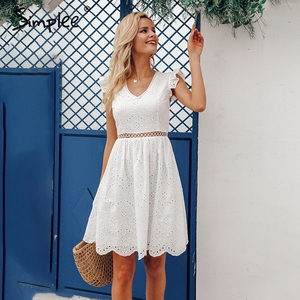 Image 5 - Simplee Sexy white women summer dress 2019 Backless v neck ruffle cotton lace dress Vintage holiday beach short female vestidos