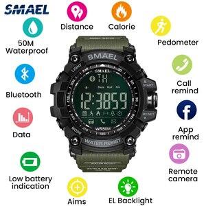 Image 3 - SMAEL dijital saat erkekler Bluetooth akıllı saat su geçirmez 50M büyük arama çağrı hatırlatma uzaktan kamera açık spor kol saati 1617B