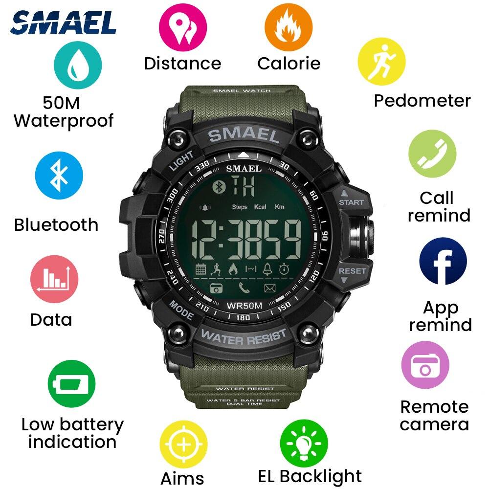 SMAEL Bluetooth LED Digital Watches Men 50M Waterproof Outdoor Swim Diver Sport Watch Big Dial Clock Army Wrist Watch Male 1617B