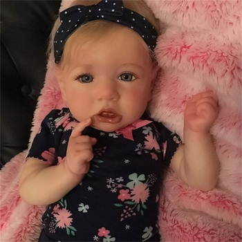 22Inch High Quality Sweet Baby Girl Elaine Lifelike Full Silicone Reborn Doll Cute Crooked Doll Lifelike Doll Children Accompany 2015 new design 24inch reborn toddler baby doll rooted human hair fridolin lifelike sweet girl real gentle touch