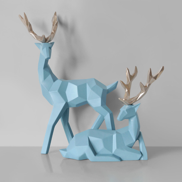 2Pcs Deer Statue Nordic Decoration Home Decor Statues Geometric Resin Deer Figure/Figurines/Sculpture Modern Decoration Abstract 2