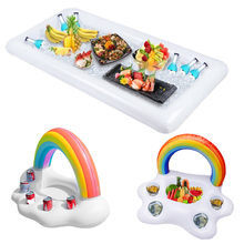 Pool Float Beer Table Drinking Cooler Table Bar Tray Rainbow Cloud Cup Holder Inflatable Pool Beach Swimming Ring Summer Pool