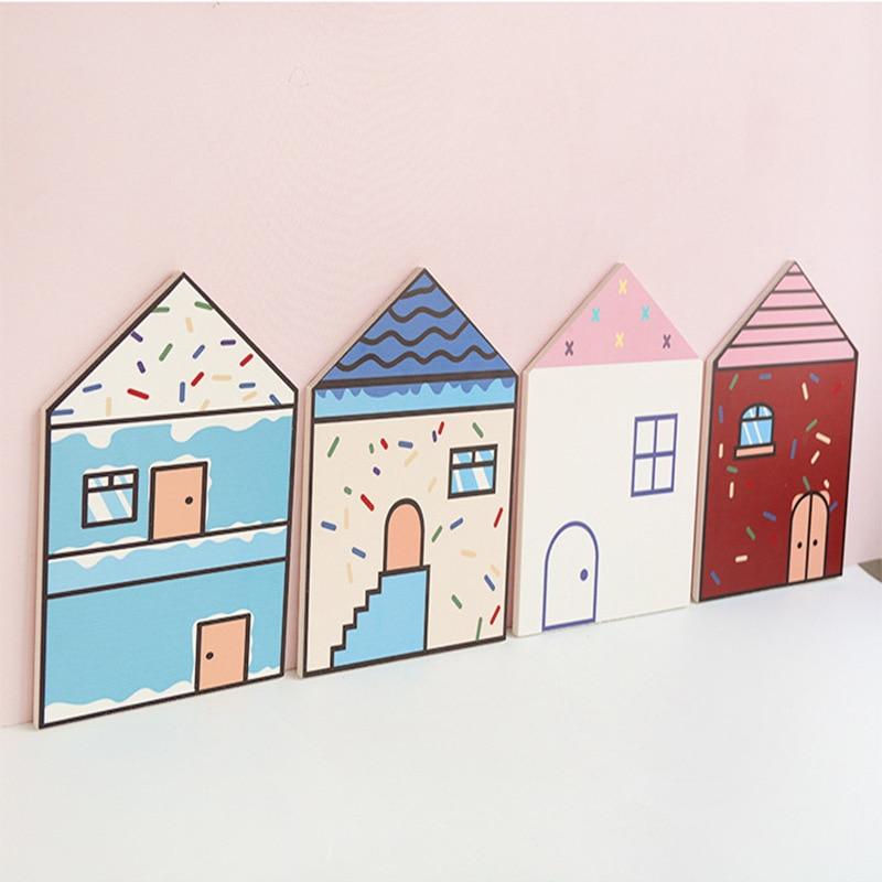 Style nordique maison Simple petite maison ballon à Air chaud décoration murale créative chambre d'enfants décor trois dimensions autocollants