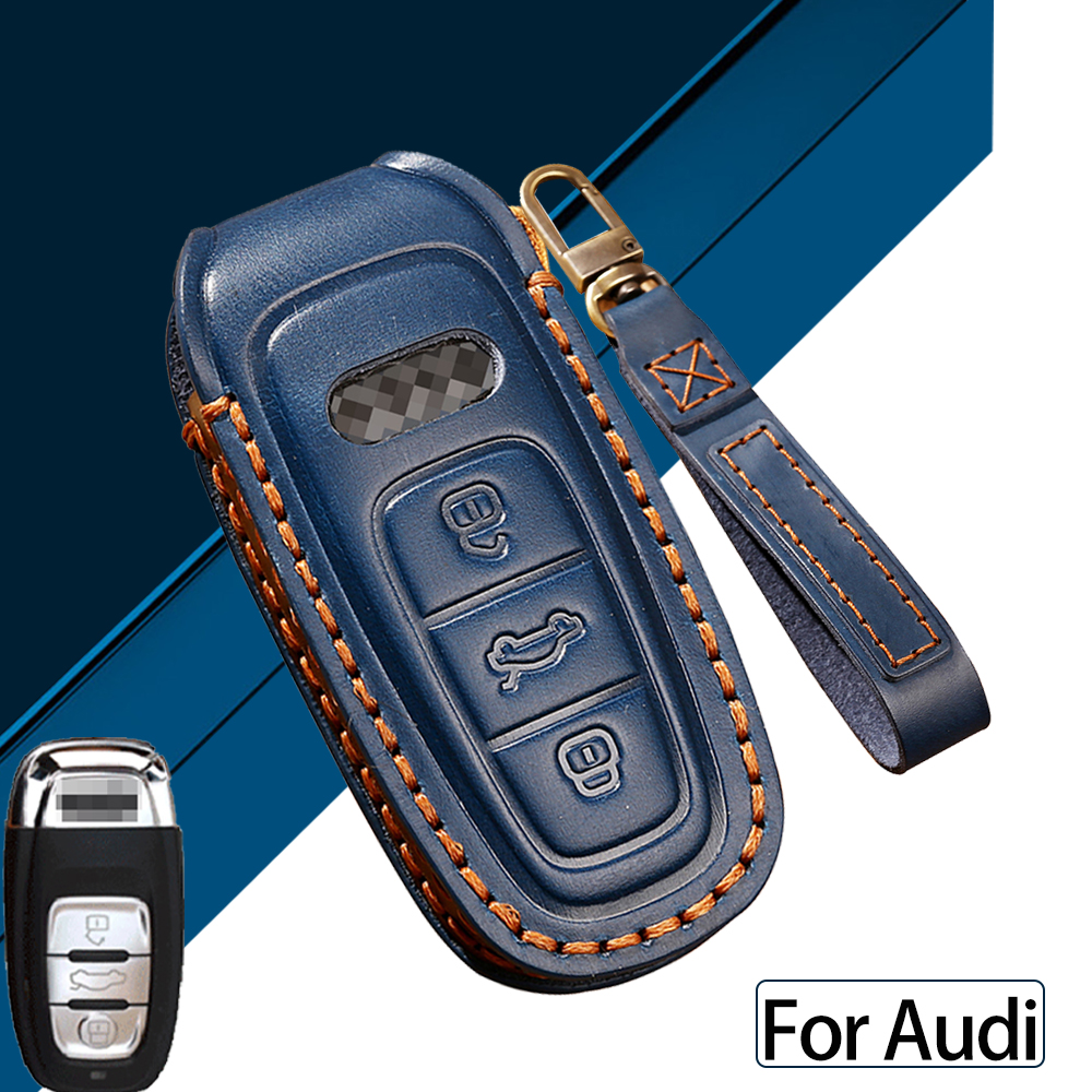 Genuine Leather Smart Remote Car Key Case Cover For Audi A3 A4 A5 A6 Q3 Q5 Q6 Q7 C7 RS3 Car Holder Shell keychain for car keys