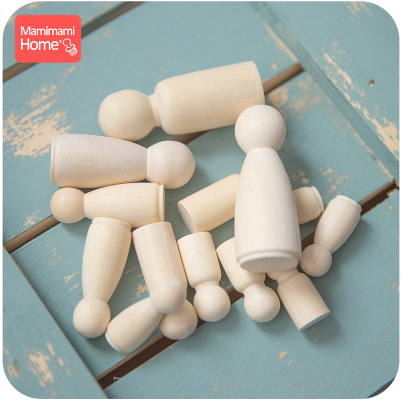 80pcs/Set Wood Peg Dolls Maple Unpainted Handmade Unfinished Decor Dolls Teething Toys Wooden Blank Children Goods Newborn Gifts