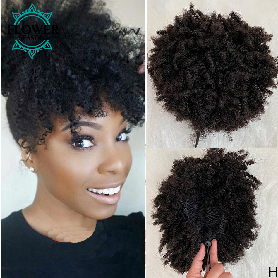 Ponytail Extensions 100% Human Hair Afro Kinky Curly Indian Remy hair Drawstring Ponytail for women 100g Natural Color Flowersen
