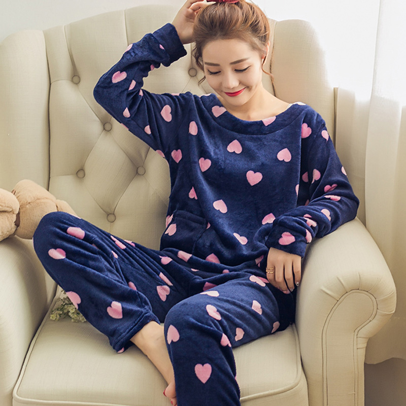 korean winter Women Pyjamas Thicken Flannel   Pajama     Sets   Print Thick Warm Love Pijama mujer Girl Nightgown Long Pant Sleepwear