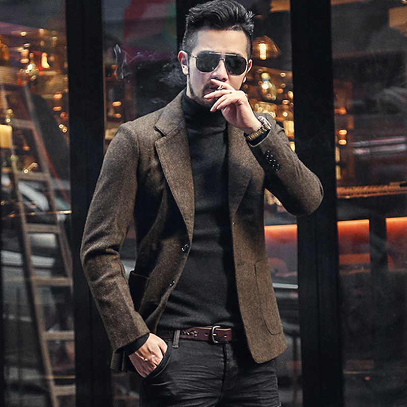 Men Autumn And Winter New Dark Blue Texture Woolen Suit Blazer Men's Casual England Style Slim Gentlemen Business Suit F196-3