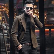 Men Autumn and Winter New Dark Blue Texture Woolen Suit Blazer Men's Casual Engl