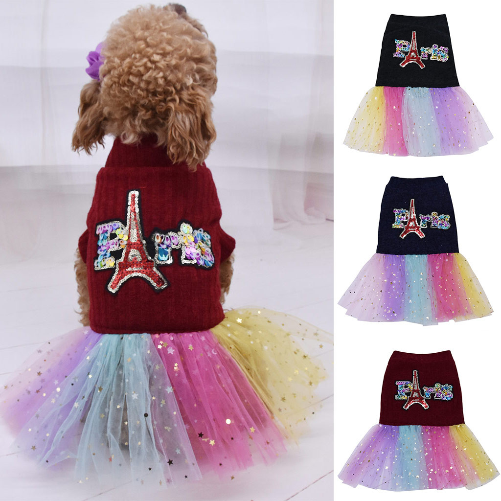 Dogs Clothes Lace Skirt Party Costume Apparel Dog Costume Warm Winter Dog Clothes Chihuahua Painting Polar Puppy Coat Dropship