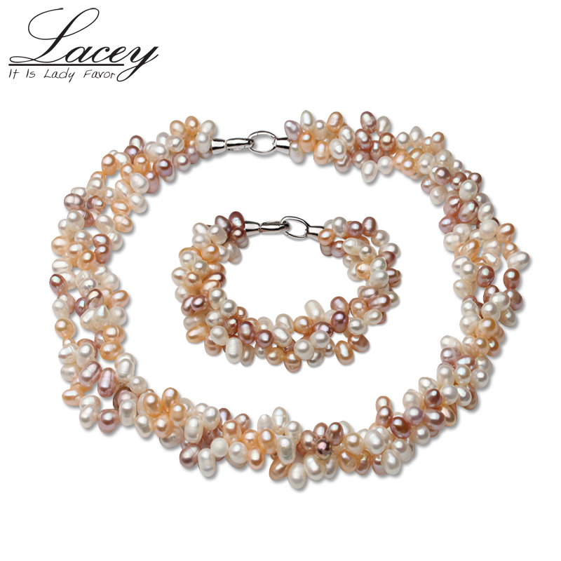 Natural Multi Color Pearl Jewelry Sets,925 Silver Handmade Jewelry Sets Wedding Gift Pearl Necklace/Bracelet For Women