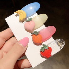 1pc INS New Korea Fruit Shape Candy Color Acrylic Barrettes For Girls Children Cute Cartoon BB Hair Clips Banana Tomato Hairpins
