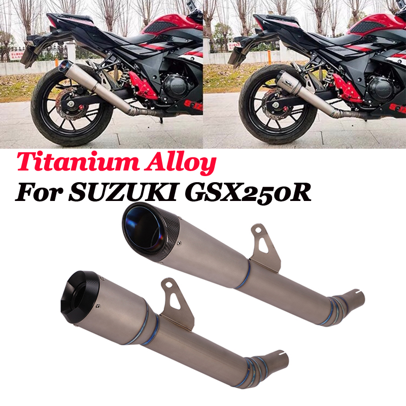 Slip On For <font><b>Suzuki</b></font> <font><b>GSX250R</b></font> DL250 GSX250 Motorcycle Titanium Alloy <font><b>Exhaust</b></font> Pipe Mid Pipe Carbon Escape Muffler DB Killer image