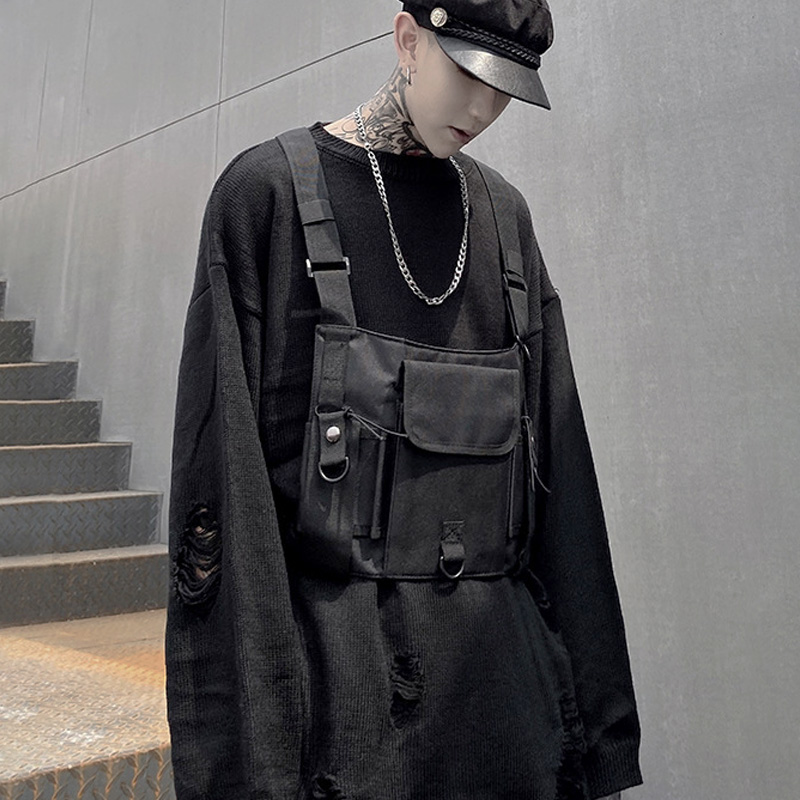 Streetwear Chest Rig Bag For Men Functional Tactical Chest Bags Unisex Fashion Street Hip Hop Bag Adjustable Vest Waist Pack