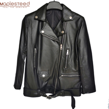 Maplesteed Women Leather Jacket 100% Natural Sheepskin Soft Loose Long Woman Real Skin Coat Autumn OVERSIZE Bust 100-116cm M488