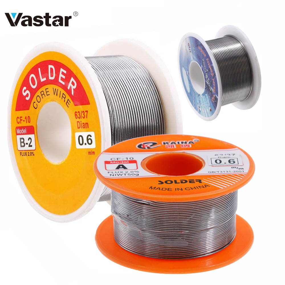 Vastar 0.8mm 100g Tin Welding Wire Melt Rosin Core Solder Wire 63/37 Flux 2.0% 0.8/1/1.2/1.5/2mm Soldering Iron Tin 30g 50g