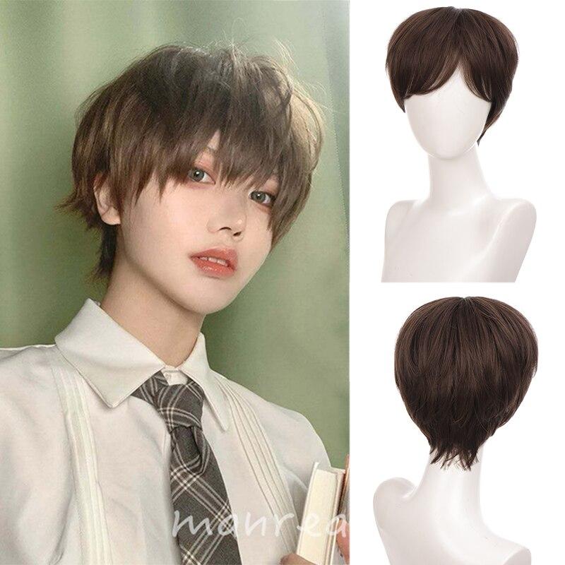 Парик Ailiade для мужчин и женщин, короткий, из натуральных коричневых прямых синтетических волос с челкой, для косплея аниме, Повседневный, на ...