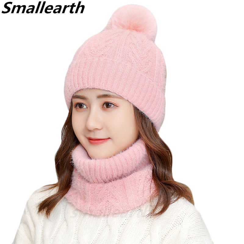 Two Pieces Winter Hat Scarf Set For Women Warm Beanies Hat Scarf Sets Girls Thick Plus Velvet Caps Windproof Winter Accessories