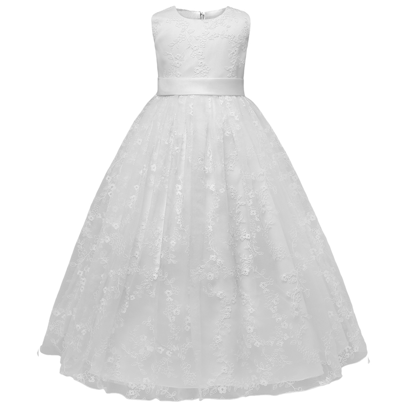 White Lace Flower Girls Dress Children Girls Wedding Evening Formal Long Gown Princess Winter Party Clothing Size 4-10 Years