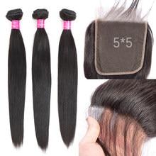 Paquets de cheveux humains avec 5x5 6x6 plus grande fermeture que 4x4 cheveux raides malaisiens 3 paquets avec fermeture Fashow Remy tissages de cheveux En soldes