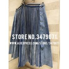 Осень-зима г. Ковбойская длинная Плиссированная повседневная юбка вечернее платье женская уличная юбка высокое качество Потертая джинсовая юбка 360 ° большая юбка