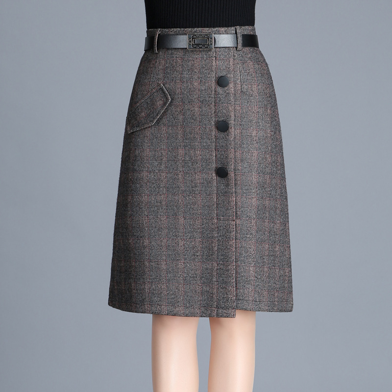 Plaid A- Line Skirt Mid-length Women's Autumn & Winter Woolen Over-the-Knee Long Skirts A Sub-Wrapped Skirt One-step Skirt Winte