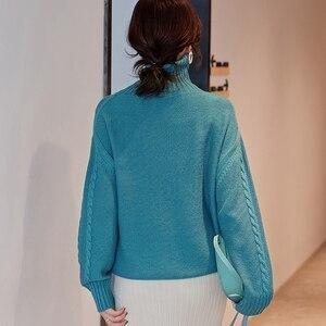 Image 3 - 숙 녀 점퍼 100% 캐시미어 및 양모 니트 스웨터 여성 2019 터틀넥 4 색 두꺼운 pullovers 옷