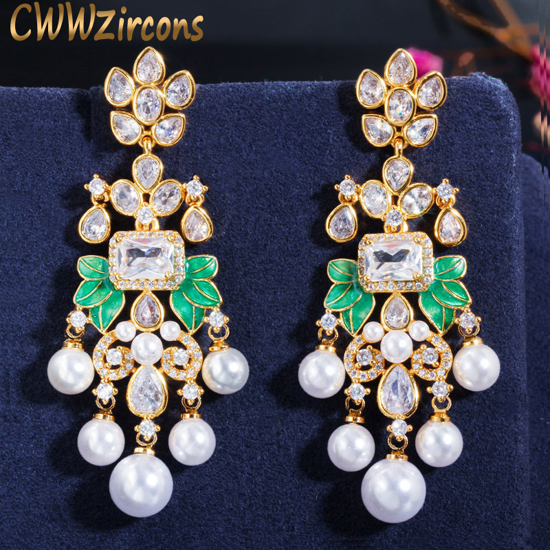CWWZircons Luxury Long Pearl Tassel Drop Dangle Earrings Cubic Zircon Royal Wedding Engagement Party Jewelry For Women CZ661