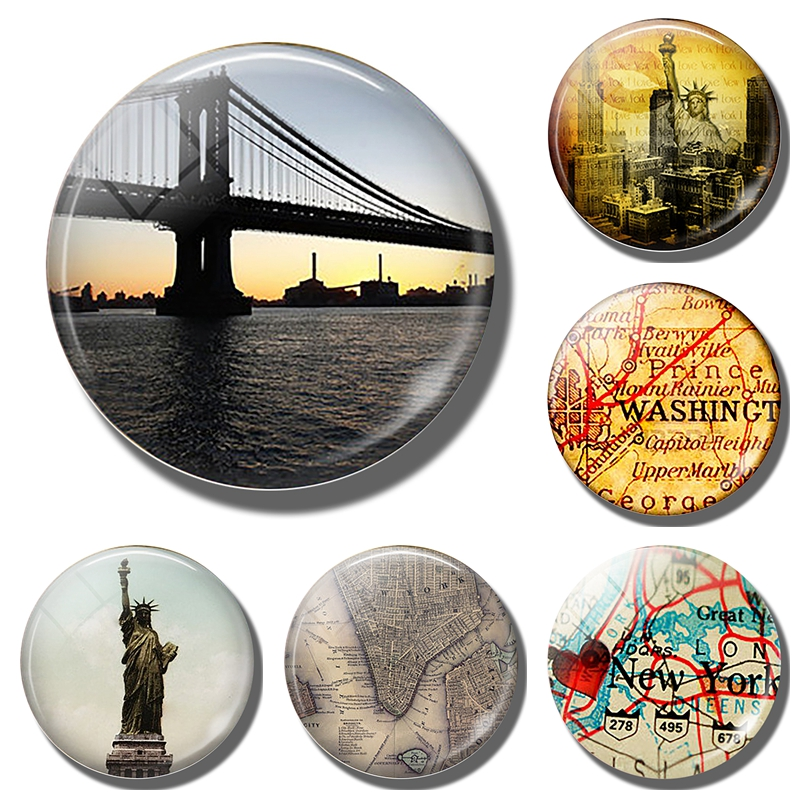 New York Manhattan map Statue of Liberty refrigerator magnets Brooklyn Bridge travel 30MM fridge magnets cities tourist souvenir image