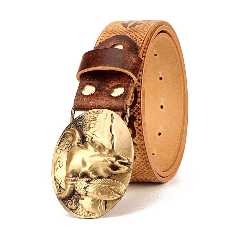 Ceinture pour hommes, en cuir de vachette, Style ethnique, en cuir véritable pur, à boucle de cuivre, Style rétro, ceintures à boucle lisse pour hommes