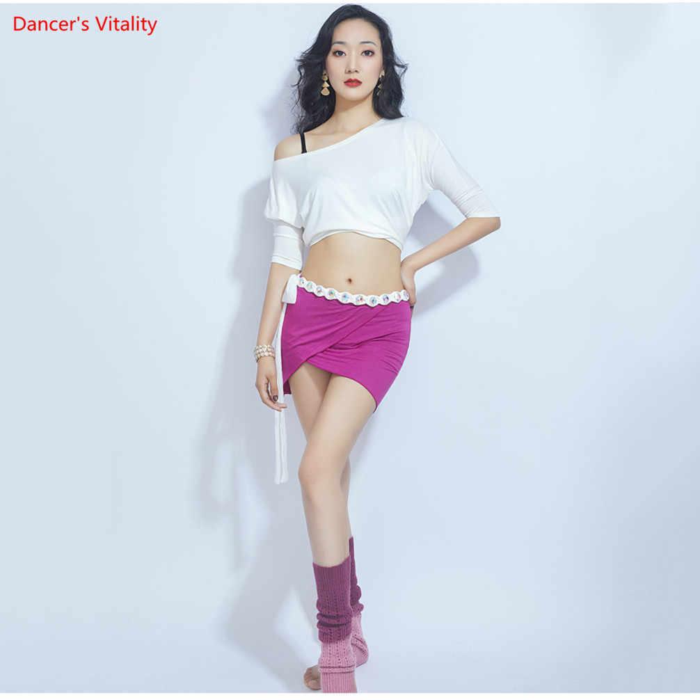 Traje de danza del vientre Sexy de diseño suelto Top Falda larga de pierna dividida traje de danza Oriental ropa de entrenamiento de danza