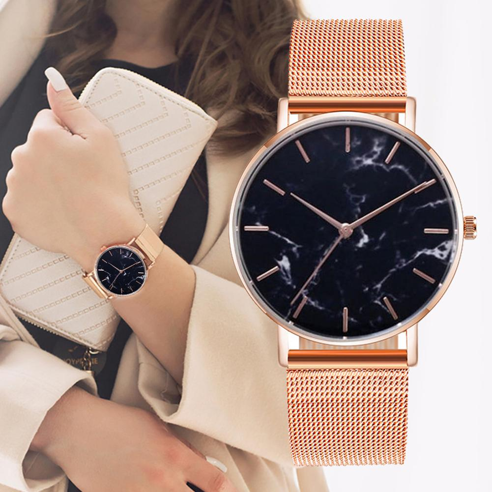 Durable Fashion Unisex Marble Grain Round Dial Mesh Band No Number Analog Quartz Wrist Watch Women High Quality Женские часы Fas