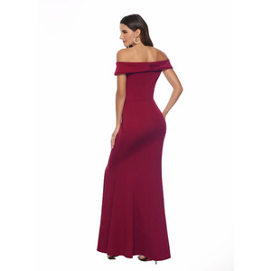 Image 5 - Off Schulter Brautjungfer Kleid Elegante Party Kleid Schlitz Rosa Lange Maxi Kleid Sexy Vestido de Fiesta Robe de Soiree YSM 5175