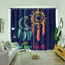 blue curtains sun moon 3d curtain Bedroom living room  windproof thickening blackout fabric