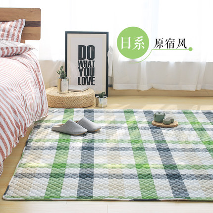 Carpet Bedroom Wwashed-Rug Can-Be-Machine Bedside Japanese-Style Plaid Cotton Household