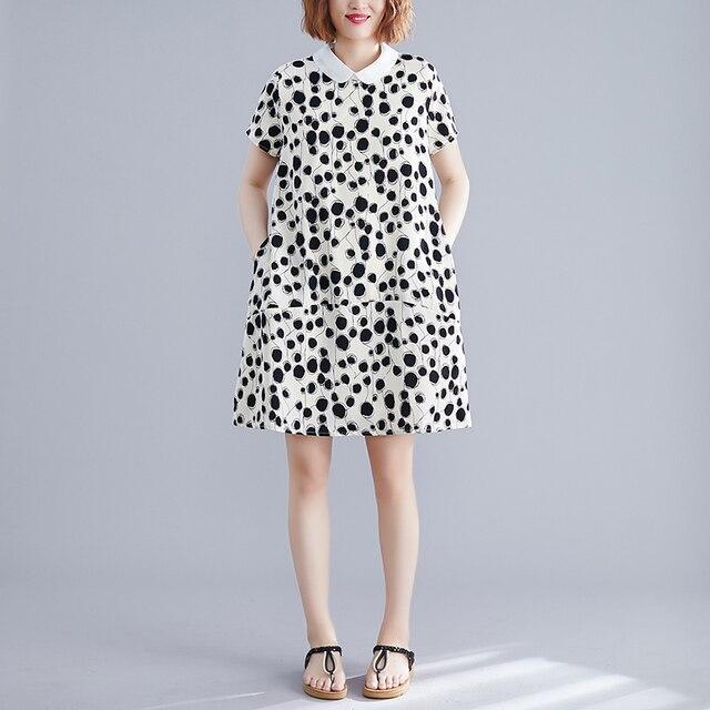 Robes de femmes douces 2020 été Vintage col rabattu à manches courtes en vrac a-ligne genou longueur femme robe de qualité supérieure