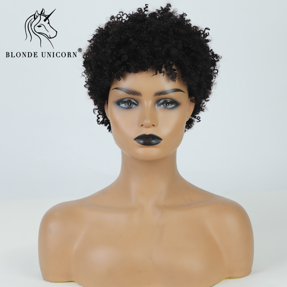 BLONDE UNICORN Blend Human Hair and Synthetic Wig Short Curly Black Hair Wigs For Black White Women Heat Resistant