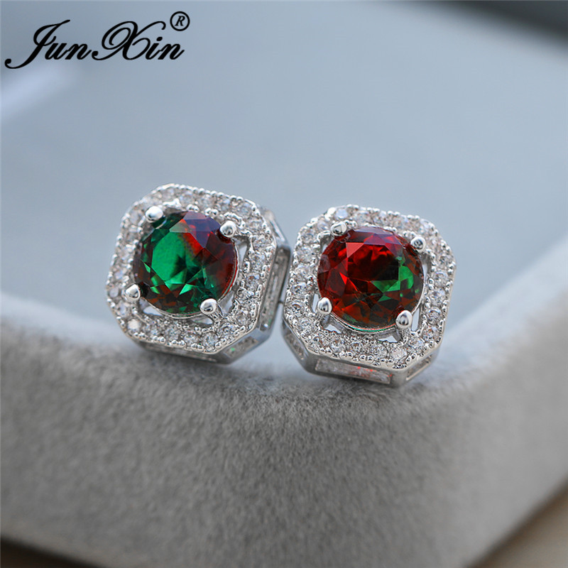 Mystical Rainbow Crystal Square Wedding Earrings For Women White Gold Colorful White Red Green Stone Ear Stud Earring Zircon CZ