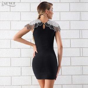 Image 5 - Adyce 새로운 여름 블랙 붕대 드레스 2020 여자 연예인 이브닝 드레스 드레스 Vestido 섹시한 비즈 다이아몬드 미니 활주로 클럽 드레스
