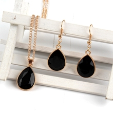 1 set Rose Gold Water drop Pendant Necklace & earrings Fashion Jewelry black