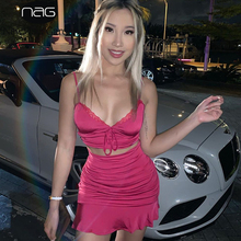 NewAsia 庭セクシーな 2 個セット女性ホットピンク V 弓レースのクロップトップシャーリングスカート 2 点セットパーティークラブマッチングセット