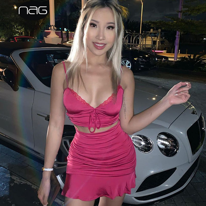 NewAsia Garden Sexy  2 Piece Set Women Hot Pink V-neck Tie Bow Lace Crop Top Ruched Skirt Two Piece Set Party Club Matching Sets