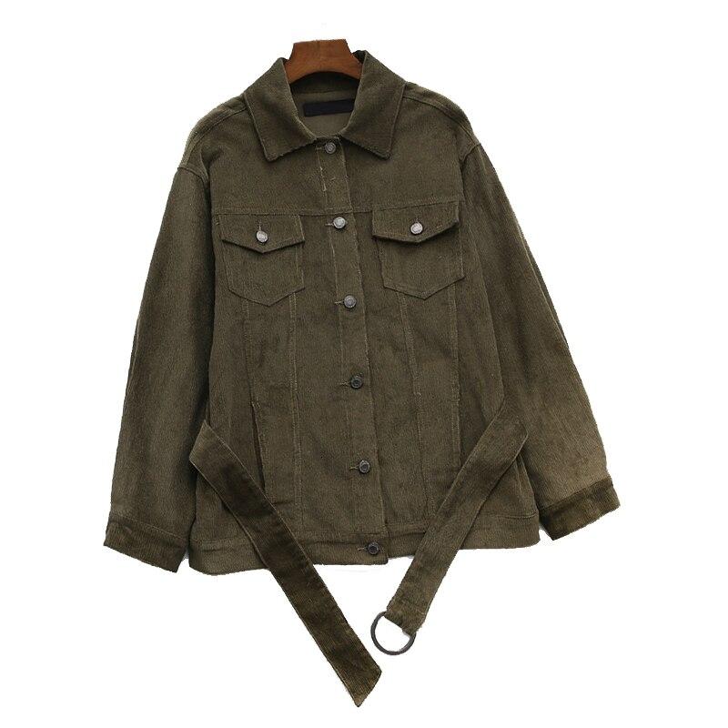 New Stylish 2019 Bomber   Jacket   with Pockets Katoen Corduroy Jas Women   Basic     Jackets   Belt Slim Fit Mode Upwear